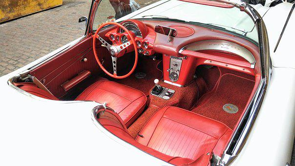 Chevrolet, Corvette, Interior, Red, White