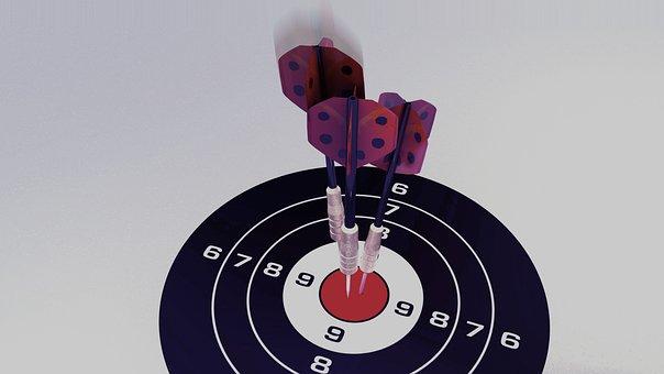 Darts, Target, Bull's Eye, Arrow, Delivering, Middle