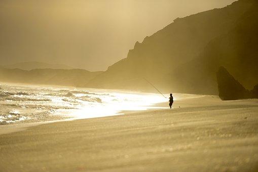 Fishing, Sunset, Beach, Ocean, Sky, Fisherman, Sea