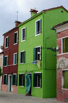 Burano, Lagoon, Venice, Green House, Italy, Houses