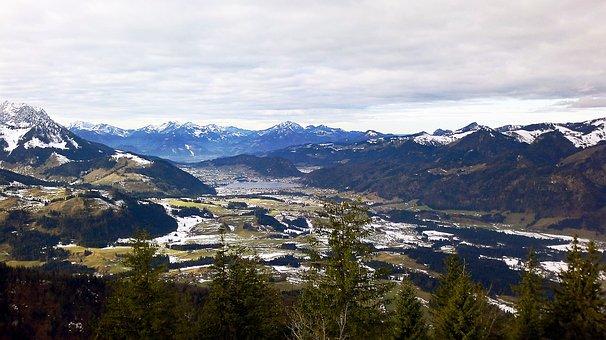 Mountains, Austria, Kössen, Wilderkaiser, Snow