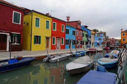 Burano, Venice, Lagoon, Colorful Houses, Italy, Windows