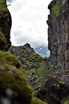 Moss, Moody, Rock, Distance, Perspective, Summit, Peak