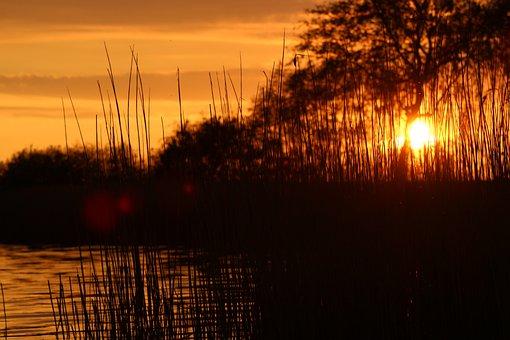 Sunset, Lake, Abendstimmung, Nature, Sun, Water