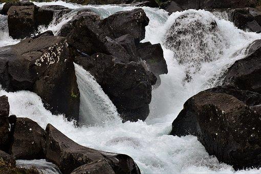 Waterfall, River, White, Rock, Gushing, Iceland