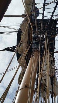 Spar, Ship, Mast, Sail, Rigging, Rope, Sea, Sailboat