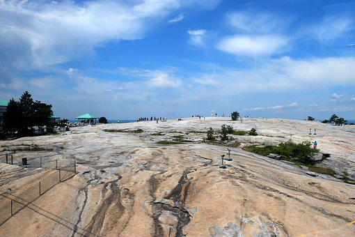 Atop Stone Mountain, High Up, Unrecognizable People