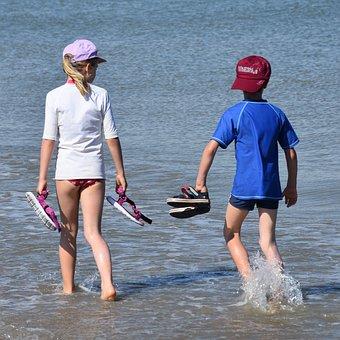 Shoe, Children, People, Boy, Girl, Hiking, Walk, Sea