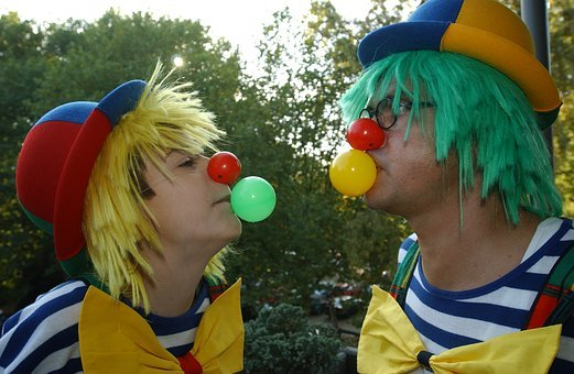 Clowns, Circus Gum, Chewing Gum Bubbles, Father And Son