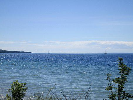 Lake, Scene, Michigan, Nature, Water, Landscape, Sky