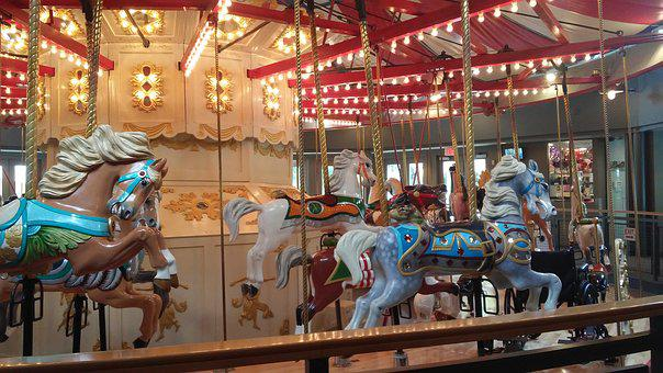 Foreign Countries, Amusement Park, Merry-go-round, Kids