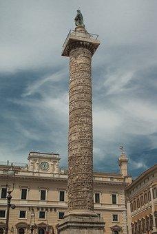 Rome, Column, Marc-aurèle, Sculpture, Antique