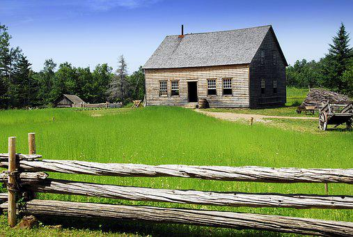 Acadian Village, Cottage, Rural Scene, Flax Field