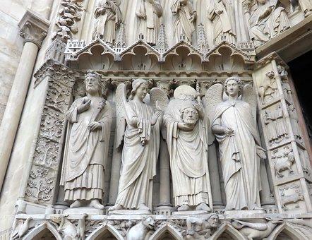 Paris, Notre-dame, Cathedral, Statues, Portal, St-denis