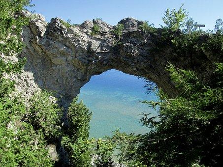 Arch, Rock, Michigan, Nature, Landscape, Lake, Superior