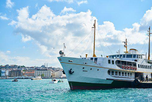 V, Marine, Clouds, Galata, Boat, Galata Bridge, On