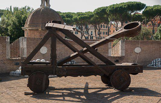 Rome, Castle Saint-angel, Catapult, Balls, Weapon