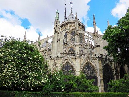 Paris, Notre-dame, Cathedral, Bedside, Square