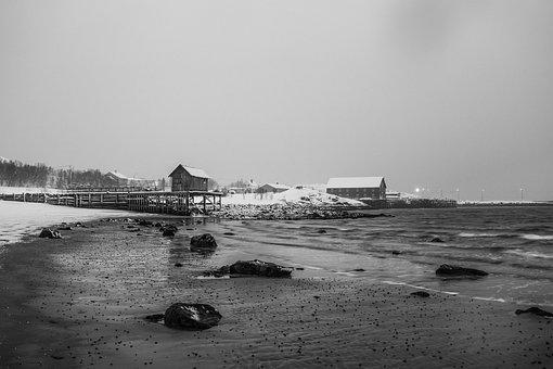 Landscape, Black White, Black And White, Shoreline
