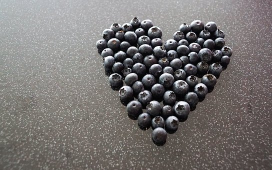 Heart, Love, Kitchen, Blueberries, Blue, Black, Table