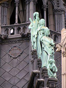 Paris, Notre-dame, Arrow, Apostles, Bronze, Statues