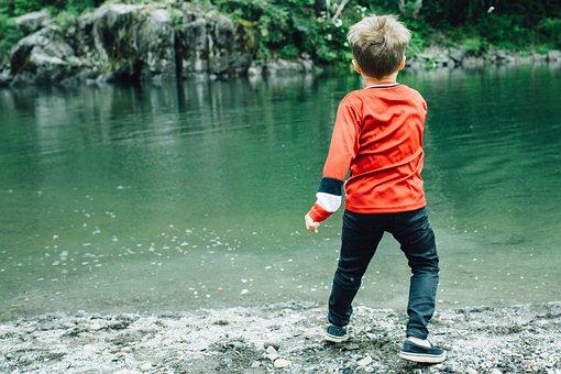 Skipping Stones, River, Childhood, Child, Skip, Stone