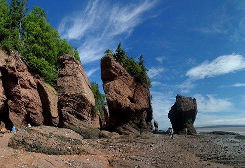 Hopewell Rocks, Seashore, Coastline, Landscape, Coastal