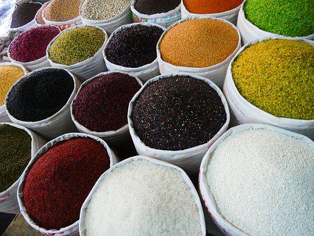 Spices, Curry, Pepper, Market Stall, Market