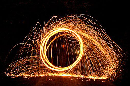 Wire Wool, Fire Ball, Spin, Light, Burn, Fire