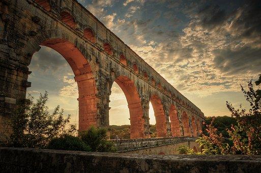 Pont Du Gard, Hdr, Bridge, France, Mood