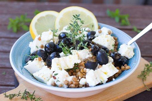 Salad, Lenses, Olives, Lemon, Healthy, Vegetarian