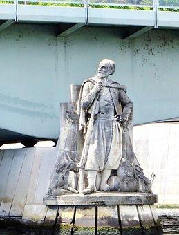 Paris, Zouave, Statue, Alma Bridge, Level, Seine