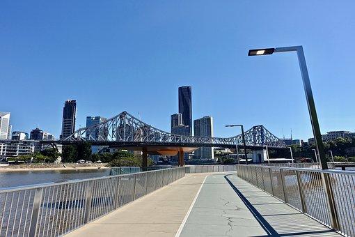 Brisbane, Bikeway, River, City, Queensland, Cityscape