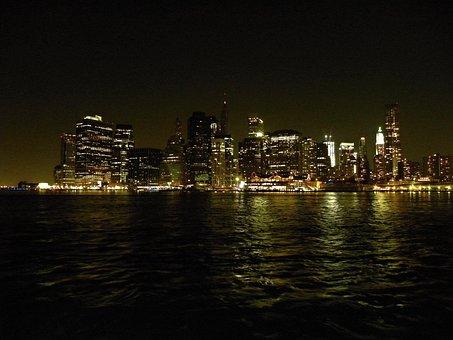 New York, Manhattan, Night, River, Lights, Urban