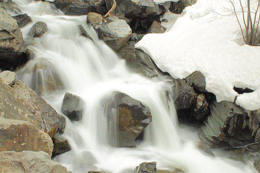 Water Fall, Colorado, Mountain Runoff, Snow, Spring