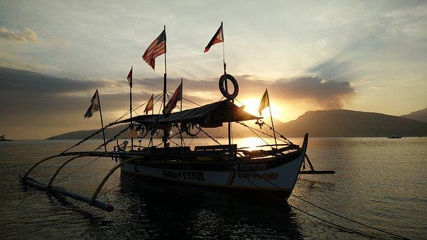 Sunset, Boat, Sea, Ocean, View, Subic Bay, Philippines
