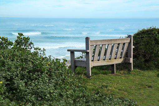 Bench, Seaside, View, Peaceful, Sea, Vacation, Summer