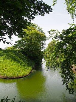 Water, Moat, Sweden, The Citadel, Landskrona, Summer