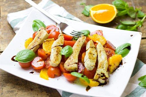 Salad, Tomatoes, Oranges, Bratstreifen, Chicken