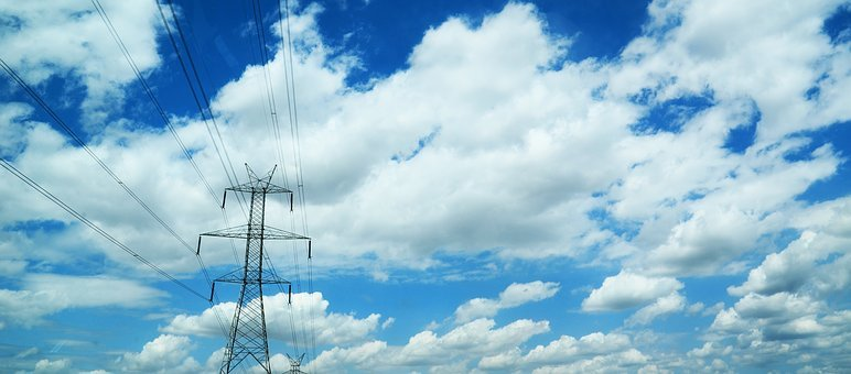 Current, Power Poles, Sky, Clouds, Energy, Power Line