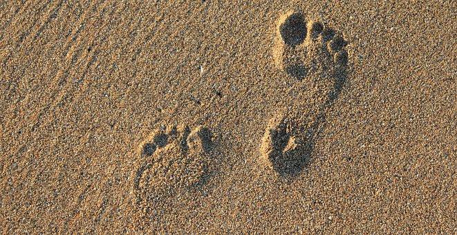 Footprint, Footstep, Imprint, Barefoot, Feet, Sand