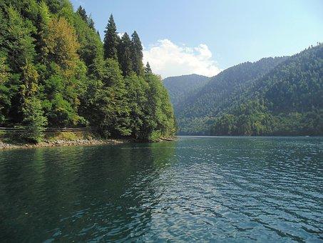Lake, Ritsa, Abkhazia, Mountains, Forest, Water