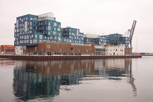 University, International, Bluish, Building, Harbour