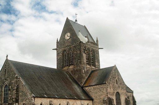 Sainte-mère-église, Normandie, Church, John Steele