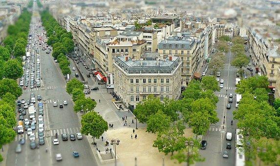 Paris, City View, Tilt Shift, Miniature Effect