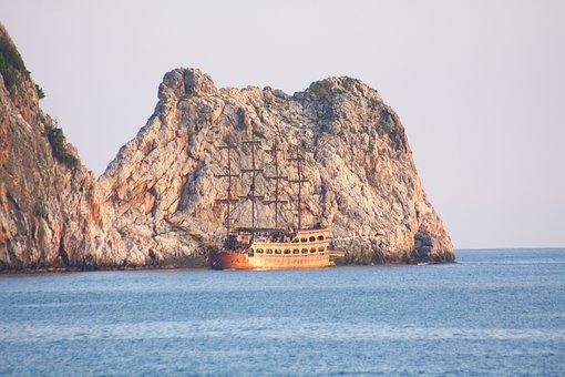 Alanya, Ship, Yard, See, Summer, Landscape, Mountain