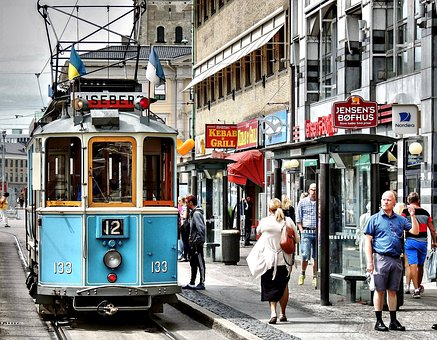 Tram, Hustle And Bustle, Shopping Street, Old Tram