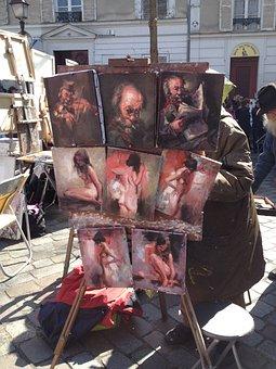 Montmartre, Paris, Painter, Easel