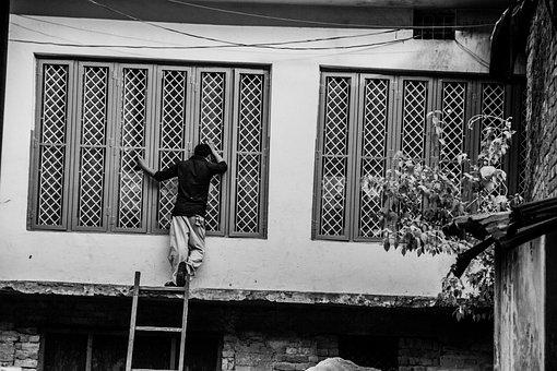 Peek, Street Photography, Peeking, People, Men