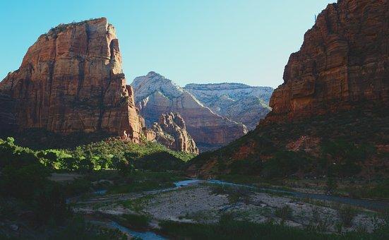 Zion, Red Rock, Morning, Utah, National, Park, Travel